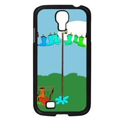 Welly Boot Rainbow Clothesline Samsung Galaxy S4 I9500/ I9505 Case (black) by Amaryn4rt