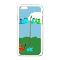 Welly Boot Rainbow Clothesline Apple Iphone 6/6s White Enamel Case by Amaryn4rt