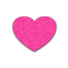 Geometric Pattern Wallpaper Pink Rubber Coaster (heart)  by Amaryn4rt