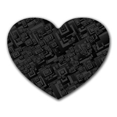Black Rectangle Wallpaper Grey Heart Mousepads by Amaryn4rt