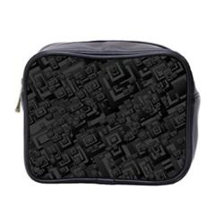 Black Rectangle Wallpaper Grey Mini Toiletries Bag 2 Side by Amaryn4rt
