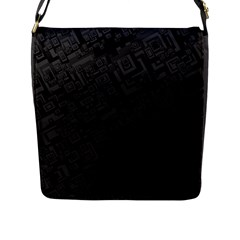 Black Rectangle Wallpaper Grey Flap Messenger Bag (l)  by Amaryn4rt