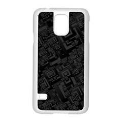 Black Rectangle Wallpaper Grey Samsung Galaxy S5 Case (white) by Amaryn4rt