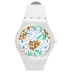 Broken Tile Texture Background Round Plastic Sport Watch (m) by Amaryn4rt