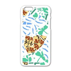 Broken Tile Texture Background Apple Iphone 6/6s White Enamel Case by Amaryn4rt