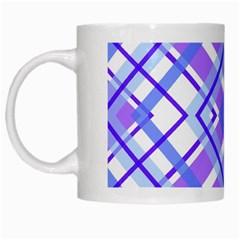 Geometric Plaid Pale Purple Blue White Mugs by Amaryn4rt