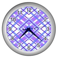 Geometric Plaid Pale Purple Blue Wall Clocks (silver)  by Amaryn4rt