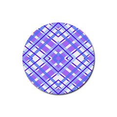 Geometric Plaid Pale Purple Blue Rubber Coaster (round)  by Amaryn4rt