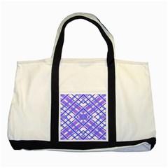 Geometric Plaid Pale Purple Blue Two Tone Tote Bag