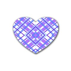 Geometric Plaid Pale Purple Blue Rubber Coaster (heart)  by Amaryn4rt