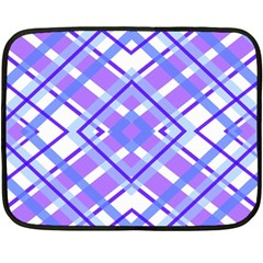 Geometric Plaid Pale Purple Blue Double Sided Fleece Blanket (mini)  by Amaryn4rt