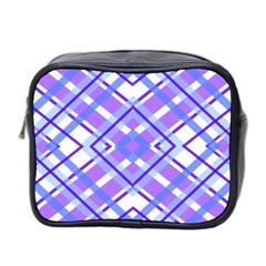 Geometric Plaid Pale Purple Blue Mini Toiletries Bag 2 Side by Amaryn4rt