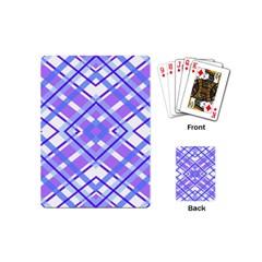 Geometric Plaid Pale Purple Blue Playing Cards (mini)  by Amaryn4rt