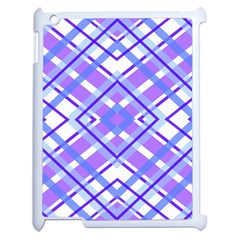 Geometric Plaid Pale Purple Blue Apple Ipad 2 Case (white) by Amaryn4rt