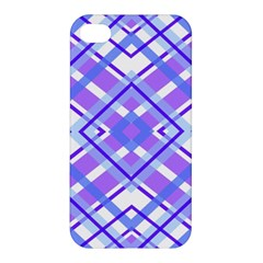 Geometric Plaid Pale Purple Blue Apple Iphone 4/4s Premium Hardshell Case by Amaryn4rt
