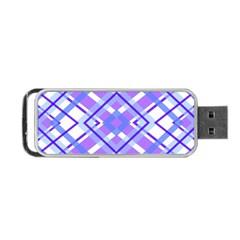 Geometric Plaid Pale Purple Blue Portable Usb Flash (two Sides) by Amaryn4rt