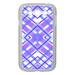 Geometric Plaid Pale Purple Blue Samsung Galaxy Grand Duos I9082 Case (white) by Amaryn4rt