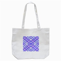 Geometric Plaid Pale Purple Blue Tote Bag (white) by Amaryn4rt