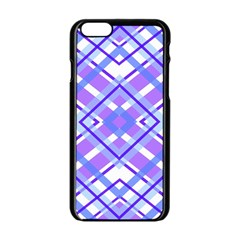 Geometric Plaid Pale Purple Blue Apple Iphone 6/6s Black Enamel Case by Amaryn4rt