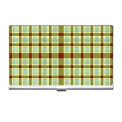 Geometric Tartan Pattern Square Business Card Holders by Amaryn4rt