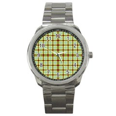 Geometric Tartan Pattern Square Sport Metal Watch by Amaryn4rt