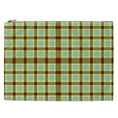 Geometric Tartan Pattern Square Cosmetic Bag (xxl)