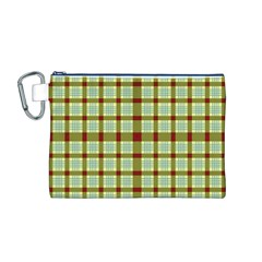 Geometric Tartan Pattern Square Canvas Cosmetic Bag (m) by Amaryn4rt