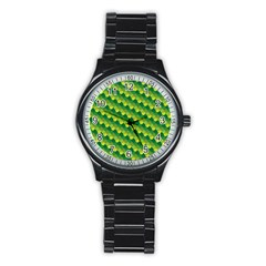 Dragon Scale Scales Pattern Stainless Steel Round Watch by Amaryn4rt