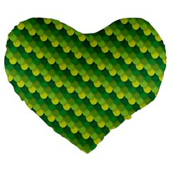 Dragon Scale Scales Pattern Large 19  Premium Flano Heart Shape Cushions by Amaryn4rt