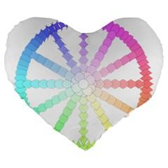Polygon Evolution Wheel Geometry Large 19  Premium Flano Heart Shape Cushions by Amaryn4rt