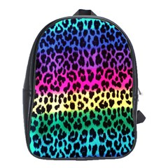 Cheetah Neon Rainbow Animal School Bags (xl)  by Alisyart