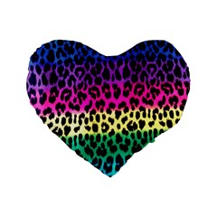 Cheetah Neon Rainbow Animal Standard 16  Premium Heart Shape Cushions by Alisyart