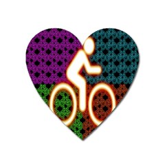 Bike Neon Colors Graphic Bright Bicycle Light Purple Orange Gold Green Blue Heart Magnet by Alisyart