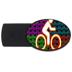 Bike Neon Colors Graphic Bright Bicycle Light Purple Orange Gold Green Blue Usb Flash Drive Oval (2 Gb) by Alisyart
