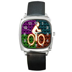 Bike Neon Colors Graphic Bright Bicycle Light Purple Orange Gold Green Blue Square Metal Watch by Alisyart