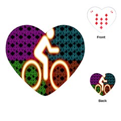 Bike Neon Colors Graphic Bright Bicycle Light Purple Orange Gold Green Blue Playing Cards (heart)  by Alisyart