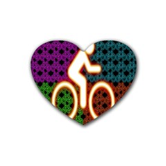 Bike Neon Colors Graphic Bright Bicycle Light Purple Orange Gold Green Blue Rubber Coaster (heart)  by Alisyart