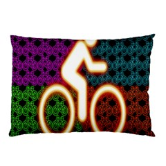 Bike Neon Colors Graphic Bright Bicycle Light Purple Orange Gold Green Blue Pillow Case by Alisyart