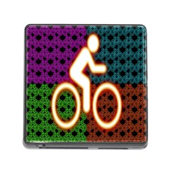 Bike Neon Colors Graphic Bright Bicycle Light Purple Orange Gold Green Blue Memory Card Reader (square) by Alisyart