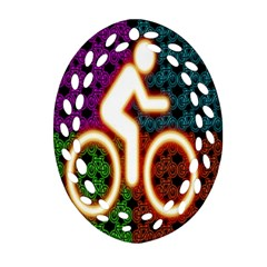 Bike Neon Colors Graphic Bright Bicycle Light Purple Orange Gold Green Blue Oval Filigree Ornament (two Sides) by Alisyart