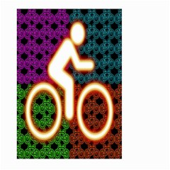 Bike Neon Colors Graphic Bright Bicycle Light Purple Orange Gold Green Blue Large Garden Flag (two Sides) by Alisyart