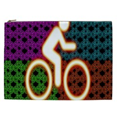 Bike Neon Colors Graphic Bright Bicycle Light Purple Orange Gold Green Blue Cosmetic Bag (xxl)  by Alisyart