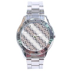 Circle Blue Grey Line Waves Black Stainless Steel Analogue Watch by Alisyart