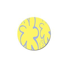 Doodle Shapes Large Flower Floral Grey Yellow Golf Ball Marker by Alisyart
