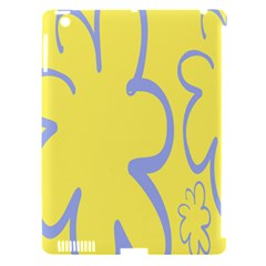 Doodle Shapes Large Flower Floral Grey Yellow Apple Ipad 3/4 Hardshell Case (compatible With Smart Cover) by Alisyart