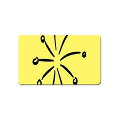 Doodle Shapes Large Line Circle Black Yellow Magnet (name Card) by Alisyart