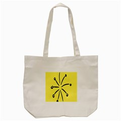 Doodle Shapes Large Line Circle Black Yellow Tote Bag (cream) by Alisyart