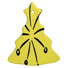 Doodle Shapes Large Line Circle Black Yellow Christmas Tree Ornament (two Sides) by Alisyart