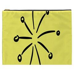 Doodle Shapes Large Line Circle Black Yellow Cosmetic Bag (xxxl)  by Alisyart