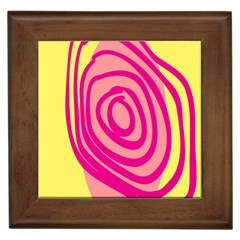 Doodle Shapes Large Line Circle Pink Red Yellow Framed Tiles by Alisyart